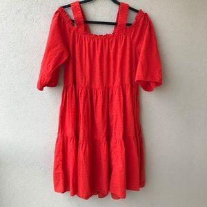 H&M Red Off-the-Shoulder Swiss Dot Dress